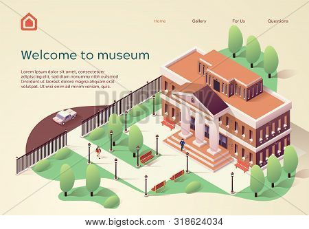 Invitation Poster Inscription Welcome To Museum. Beautiful Building With Columns In Antique Style Be