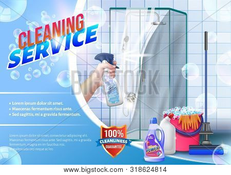 Hand With Spray Glass In Hand On Background Shower. Detergent For Home. Cleaning Service. Cleaning A
