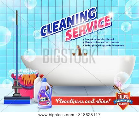 Cleaning Service. Means For Cleaning Apartment. Clean House. Set Cleaning Tools. Vector Illustration