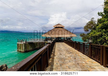 View Of The Pier In The Tropical Sea.summer Nature View.