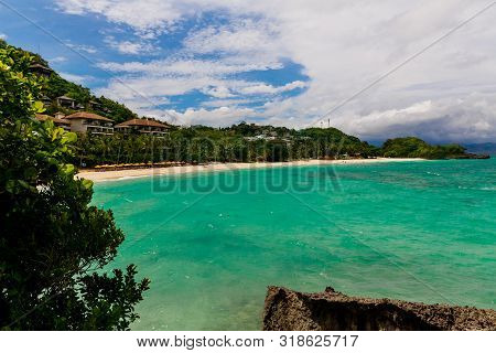 Beautiful Landscape Of Tropical Beach With Turquoise Sea. Summer Vacation Concept.
