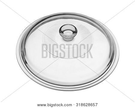 Glass Pot Cover Lid (with Clipping Path) Isolated On White Background