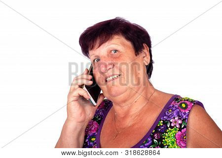 concept: grandmother speaks by smart phone isolated,communication senior citizens close-up poster