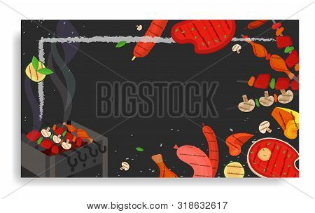 Modern Vector Barbecue Party, Menu, Invitation Design Rectangle Template. Trendy Bbq Cookout Poster,