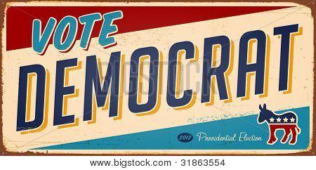 Vintage Vote Democrat metal sign - Raster version