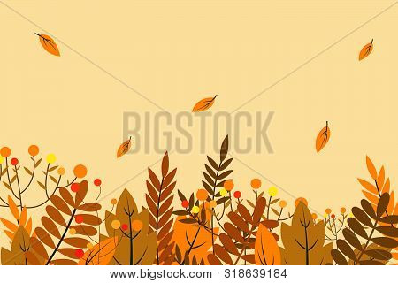Autumn Background With Dry Leaf Decoration, Autumn Theme Vector Illustration Design Template. Autumn