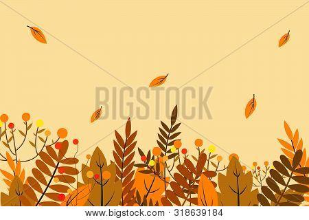 Autumn Background With Dry Leaf Decoration, Autumn Theme Vector Illustration Design Template. Autumn