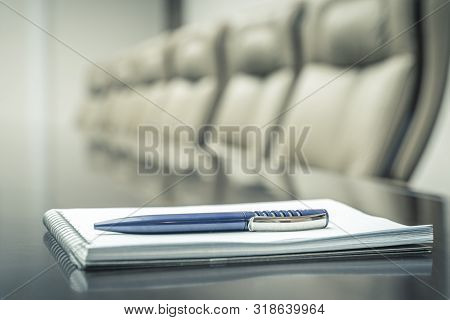 Business Concept With Agenda And Pen Before Meeting. Vintage Tone