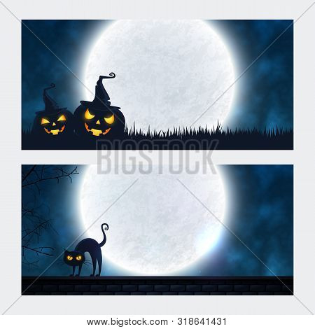 Two Halloween Banners With Full Moon, Pumpkins In Hats And Evil Cat. Spooky Night Backgrounds With C