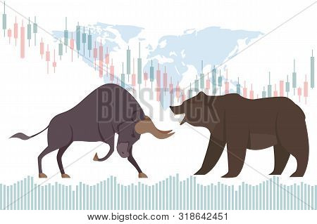 Bullish And Bearish Trend In The Stock Market. Stock Market And Business Concept With World Map Vect