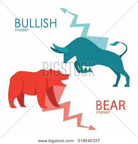 Bullish And Bearish Symbols. Stock Market Trends. Players On Exchange. Bulls And Bears Traders On A