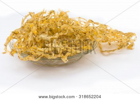 Famous Indian And Gujarati Snack Dish In A Transparent Glass Plate Isolated On White I.e. Potato And