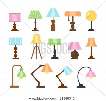 Table Lamps. Flat Icon Set. Light Fixtures. Home & Office Lighting. Interior Design Elements. Vector