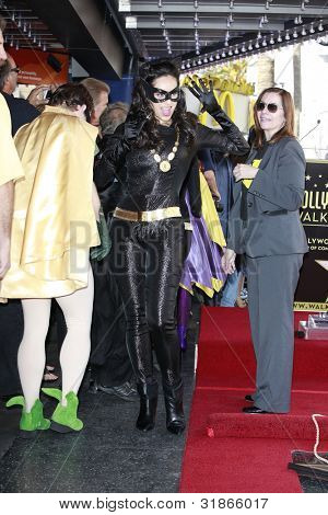 LOS ANGELES, CA - APR 5: Catwoman at a ceremony where Adam West is honored with a star on the Hollywood Walk of Fame on April 5, 2012 in Los Angeles, California