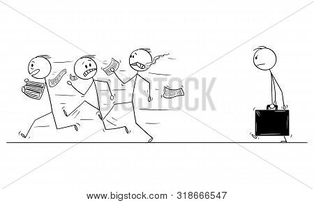 Vector Cartoon Stick Figure Drawing Conceptual Illustration Of Group Of Men Or Businessmen Running A