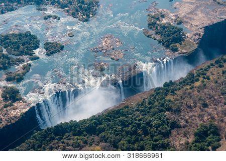 Victoria Falls Aerial View, Zambezi River, Between Zimbabwe And Zambia, Africa, A World Famous Touri