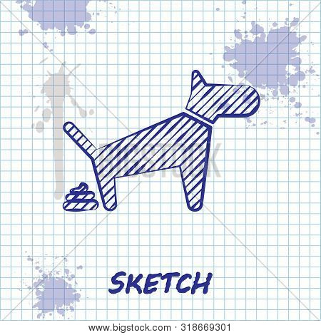 Sketch Line Dog Pooping Icon Isolated On White Background. Dog Goes To The Toilet. Dog Defecates. Th