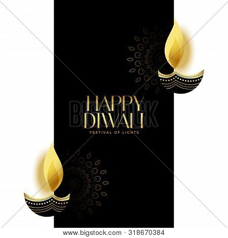 Nice Happy Diwali Black And Gold Background Design