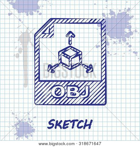 Sketch Line Obj File Document. Download Obj Button Icon Isolated On White Background. Obj File Symbo