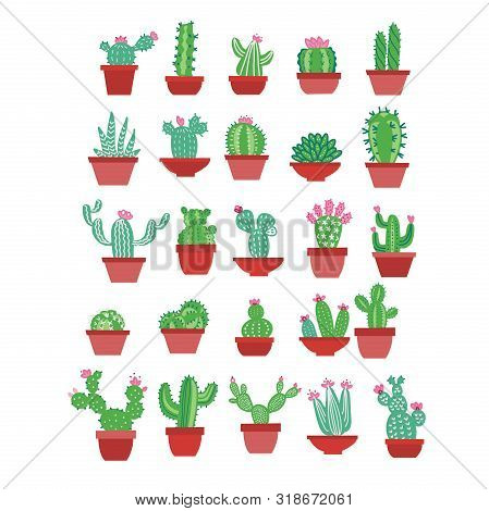 Cactus Icons In A Flat Hand Drawn Style On A White Background. Home Green Plants Cactus With Flowers