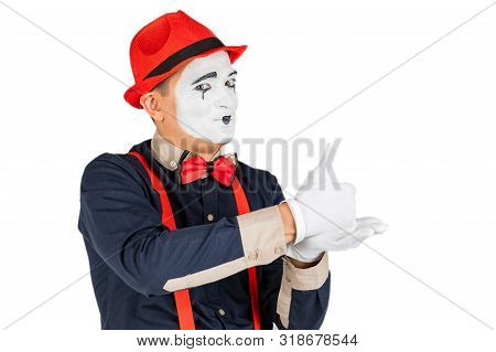 A Mime Artist Does Tricks With His Hands. Funny Mime Show, A Talented Actor. Isolated On White Backg