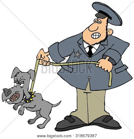 Illustration Of A Man In Uniform Holding Back A Feisty Little Dog On A Leash.