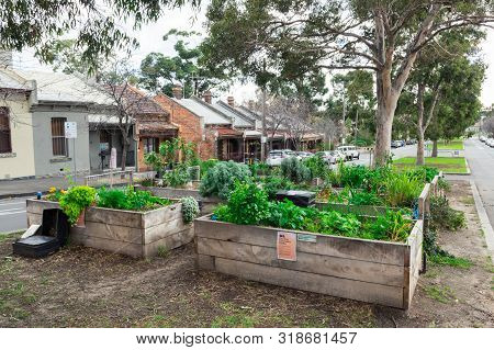 Melbourne, Australia - June 9, 2019: Community Garden In Courtney Street In North Melbourne. The Gar