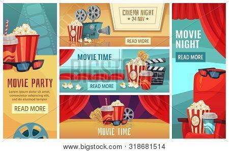 Cartoon Cinema Banner. Movie Night Tickets, Cinemas Popcorn And 3d Film Projector Banners. Movies Pr