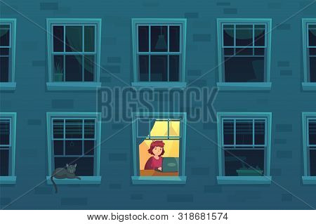 Working At Night. Busy Workaholic Works Home At Nights When Neighbors Asleep, Lonely Man In Window F