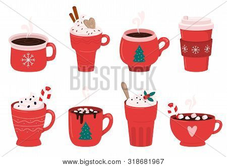 Christmas Holiday Coffee Mug. Cocoa With Marshmallows, Winter Warming Drinks And Hot Espresso Cup. X