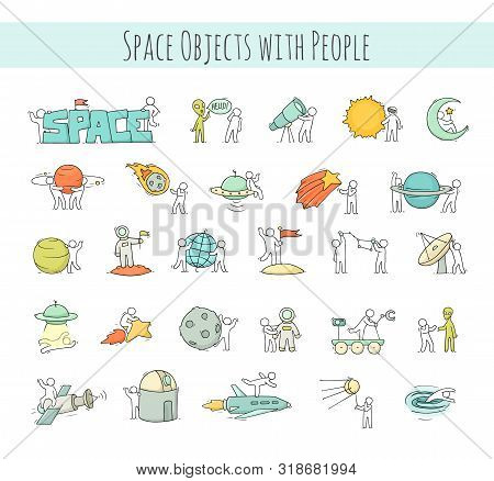 Cartoon Icons Set Of Sketch Little People With Space Objects. Doodle Cute Workers With Cosmic Elemen