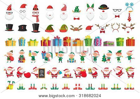 Cartoon Christmas Collection. Xmas Hats And New Year Gifts. Santa Claus And Elves Helpers Characters