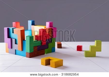 Concept Of Decision Making Process, Creative, Logical Thinking. Geometric Shapes In Different Colors