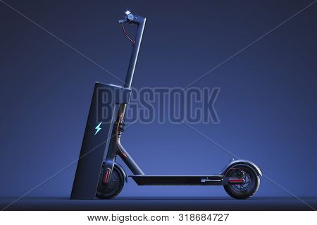 Electric Scooter With Electric Charger. Eco Alternative Transport Concept. 3d Rendering