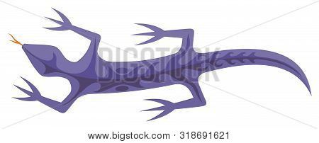 Mauve Lizard Icon With Tribal Shapes On Body Isolated On White Background.