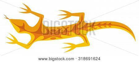 Orange Lizard Icon With Tribal Shapes On Body Isolated On White Background.