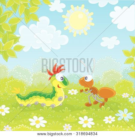 Funny Colorful Caterpillar And A Brown Ant Friendly Talking On A Green Glade Of A Forest On A Pretty