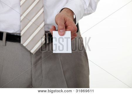 Businessman offering his card