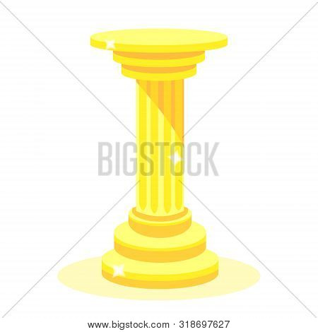 Ancient Golden Column. Column. Modern Flat Cartoons Style Vector Illustration Icons. Isolated On Whi