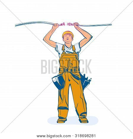Electrical Outlet And Plug In The Hands Of The Worker. Unplug, Plugged Socket. Vector Illustration S