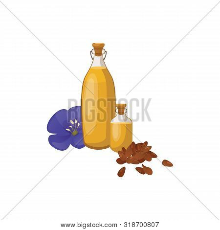Glass Bottle Of Linseed Oil And Blue Flax Flower. Organic Product. Natural Cooking Ingredient. Bottl