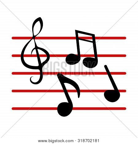 Music Notes, Song, Melody Or Tune. Modern Flat Cartoons Style Vector Illustration Icons. Isolated On