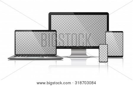 Realistic Computer Laptop Smartphone With Transparent Screen. Tablet Gadget Template, Pc Laptop Mobi