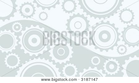 Horizontal Abstract Light Gray Background In Technical Style With Gear And Cogwheels