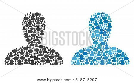 Spawn Persona Mosaics Of Message Clouds And People Symbols. Vector Mosaic In Blue Color Shades. User