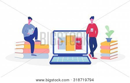 Electronic Online Library Poster With Laptop And Books, People Characters Reading Or Students Studyi