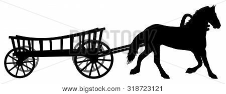 Horse With A Cart. Wagon With A Steed. Vector Silhouette