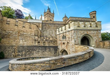 Hohenzollern Castle Close-up, Germany. This Castle Is A Landmark In Stuttgart Vicinity. Spiral Entra