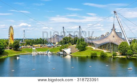 Munich Olympiapark In Summer, Germany. It Is The Olympic Park, Landmark Of Munich. Scenic View Of Fo