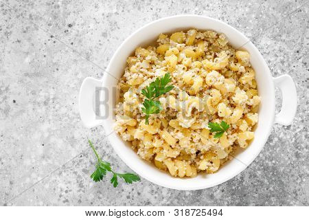 Makaroni Po-flotski. Boiled Pasta In Navy-style With Ground Chicken Meat And Fried Onions